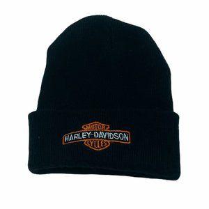 Unisex Black Embroidered Harley Davidson Beanie